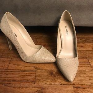 Call It Spring Beige/Metallic Gold Patterned Heels